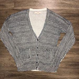Ann Taylor LOFT Striped 5 Button Cardigan, Large